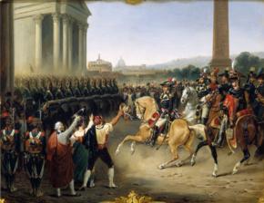 Il generale Louis Alexandre Berthier entra a Roma con le truppe dell'Armata d'Italia l'11 febbraio 1798.