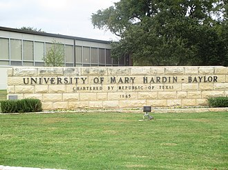 University of Mary Hardin–Baylor - Image: Entrance sign, UMHB, Belton, TX IMG 5551