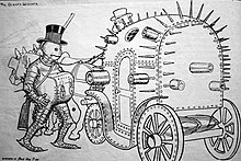 a cartoon of a man dressed in an iron suit wearing a black top hat with a lockbox chained to his neck getting into a horse drawn carriage made out of metal and covered with spikes