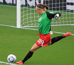 English: Erin McLeod playing for Canada in the...