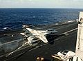 F-14A of VF-1 makes barrier landing on USS Kitty Hawk (CV-63) in 1984.jpeg