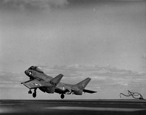 USS Coral Sea (CV-43) - An F7U-3 Cutlass is launched from Coral Sea in 1952