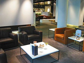 The Lufthansa First Class lounge at Frankfurt Airport FRA LH Lounge First seating.jpg