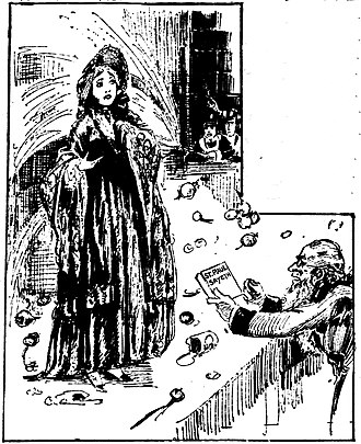 """Lucy Stone - Fanciful drawing by Marguerite Martyn of Lucy Stone as a young woman being pelted with vegetables as she speaks. At right, jeering men spray her with a hose, and another man displays a book titled """"St. Paul Sayeth."""""""