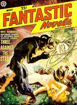 "Bernard Cronin - Cronin's 1924 novel The Satyr was reprinted as Three Against the Stars in the May 1950 issue of Fantastic Novels, under his ""Eric North"" byline"