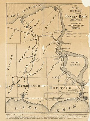 Battle of Fort Erie (1866) - A Canadian map of the raid.