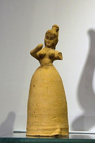 Minoan pottery - Figurine of female worshipper, Phaistos, 1700-1600 BC, AMH
