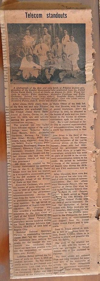 Pensionado Act - Newspaper clipping of pensionados sponsored by the Telecom Bureau