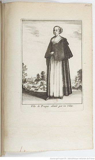 Wenceslaus Hollar - Image: Fille de Prague allan par la Ville