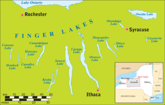 Oneida Lake - Map showing Oneida Lake in the upper right and the Finger Lakes in relation to Lake Ontario and upstate New York