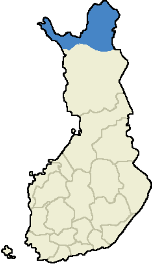Sami native region (Finland) - Location of the Sami Domicile Area in Finland.