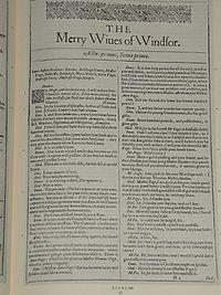 Faksimiler af første side i The Merry Wiues of Windsor fra First Folio, publiceret i 1623