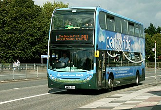 Park and ride bus services in the United Kingdom - The Plymouth scheme branding, emphasising the route, convenience, safety, green credentials and partnership nature of the service.