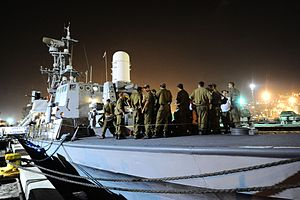 Gaza flotilla raid - The INS Nitzachon at Haifa naval base