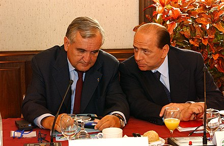 Raffarin with Italian Prime Minister Silvio Berlusconi, June 2004 Flickr - europeanpeoplesparty - EPP Summit Meise 16-17 June 2004 (9).jpg