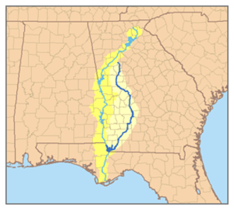 Flint River (Georgia) - Map of the Apalachicola River system with the Flint River in dark blue and its watershed highlighted.