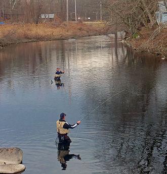 Ramapo River - Fly fishermen on Ramapo at Tuxedo, NY