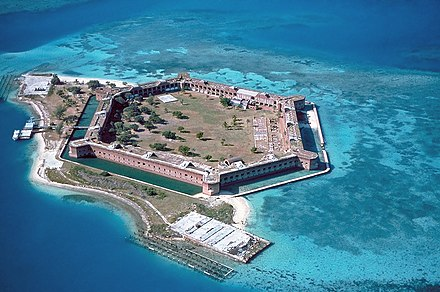 Fort Jefferson in Florida in the United States is an example of a military base although no particular size or layout is typical. Fort Jefferson is no longer in use and is currently part of the Dry Tortugas National Park. Fort-Jefferson Dry-Tortugas.jpg