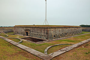 Fort Macon State Park - Fort Macon as viewed from one of the shoreward sides.