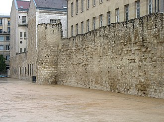 Wall of Philip II Augustus - A remaining section of the Wall of King Philip II of France (Philip Augustus), in the Rue des Jardins Saint-Paul in Paris.