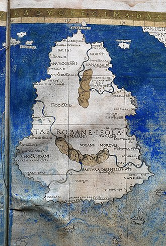 History of Sri Lanka - Ptolemic map of Ceylon (1482)