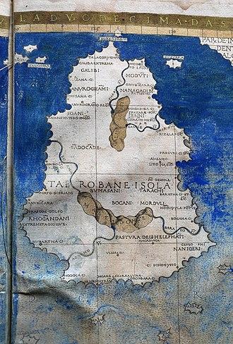 History of Sri Lanka - Ptolemic map of Ceylon (1482)