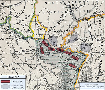 Map of the Prussian and German offensives, 5-6 August 1870 FrancoPrussianWar5to6Aug1870.jpg