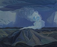 Landscape painting of a blue stormy sky with blue and brown mountainous shapes in the foreground and a plume of white and blue smoke billowing across the sky