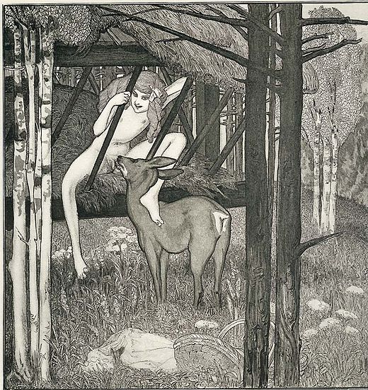 Art by Franz von Bayros depicting oral sex between an adolescent and a deer - Zoophilia