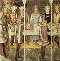 Fratelli zavattari, banchetto di nozze, cappella di teodolinda, duomo di monza, 1444.jpg
