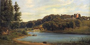 Søllerød - Søllerød Lake seen from Øverød with Søllerød Church in the background (c. 1895)