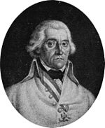Black and white print of a man with round eyes and white hair. He wears a white military uniform with a single decoration.