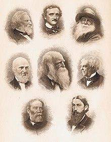Photo en bistre montrant huit têtes d'hommes