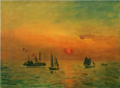 FujishimaTakeji-1934-Sunrise in a Port.png