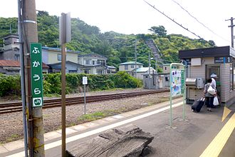 Fukaura Station - The station platform in August 2012