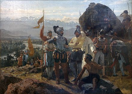 Pedro Lira's 1889 painting of the founding of Santiago by Pedro de Valdivia at Huelen Hill. Fundacion de Santiago.jpg