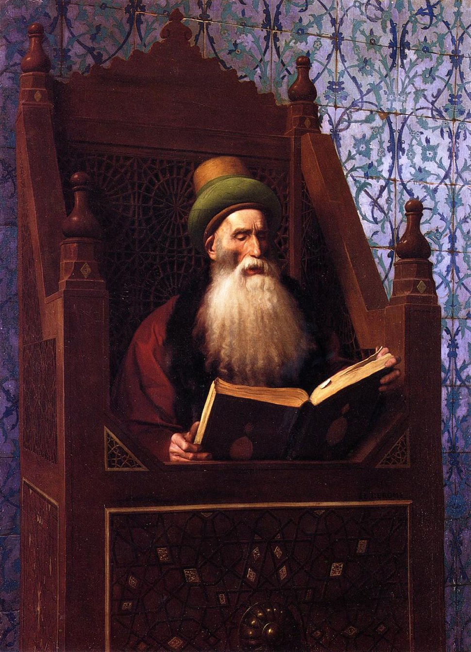 G%C3%A9r%C3%B4me - Mufti Reading in His Prayer Stool