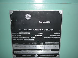 Canadian General Electric - Label on a GE Canada AC Generator at the Limestone Generating Station in Manitoba, Canada.