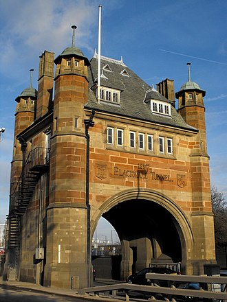 Blackwall Tunnel - Southern Tunnel House, at the southern entrance to the tunnel. The gateway house is now Grade II listed.
