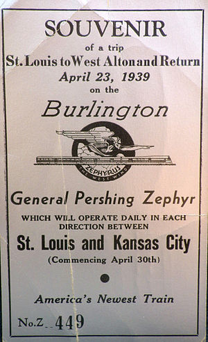 General Pershing Zephyr - Ticket from the train's trial run between St. Louis and Alton, Illinois on April 23, 1939.  It entered regular service between Kansas City and St. Louis on April 30, 1939.