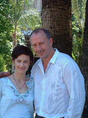 Xander Berkeley - Berkeley and Sarah Clarke on the set of 24 in 2002.