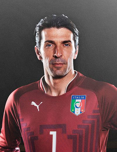 Gianluigi Buffon, the highest-priced goalkeeper and the most capped player for the Italian national team Gianluigi Buffon (2014).jpg