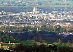 Gloucester skyline from Painswick Beacon