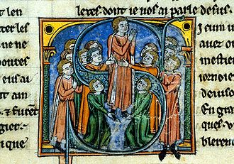 Godfrey of Bouillon - Godfrey of Bouillon being created the Lord of the city. Histoire d'Outremer by William of Tyre, detail of an historiated initial S,  British Library Manuscript in the Yates Thompson Collection (No. 12, fol. 46), 13th century.