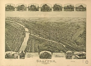 "Grafton, West Virginia - ""Bird's Eye View"" (sketch) of Grafton (1898)."