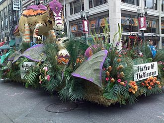 Portland Rose Festival - A dinosaur float in the 2008 Grand Floral Parade