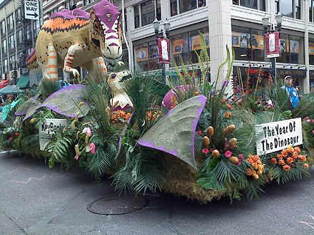 A dinosaur float in the 2008 Grand Floral Parade