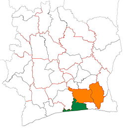 Location of Grands-Ponts Region (green) in Ivory Coast and in Lagunes District