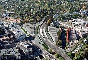 Asker Line - An artists impression of Lysaker Station after it is rebuilt in 2009