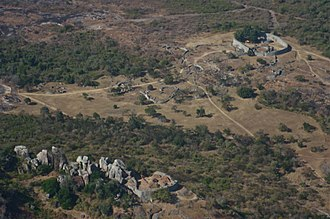 Great Zimbabwe - Aerial view looking southeast, Hill Complex in foreground